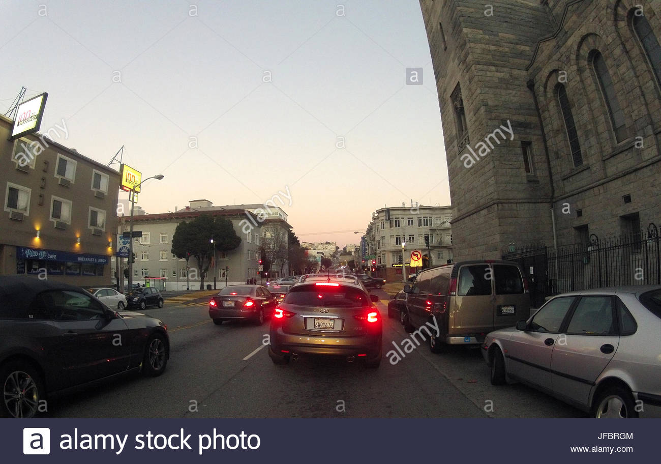 Lombard Street Approach to Golden Gate Bridge. Automobile traffic flowing onto and away from Golden Gate Bridge. - Stock Image