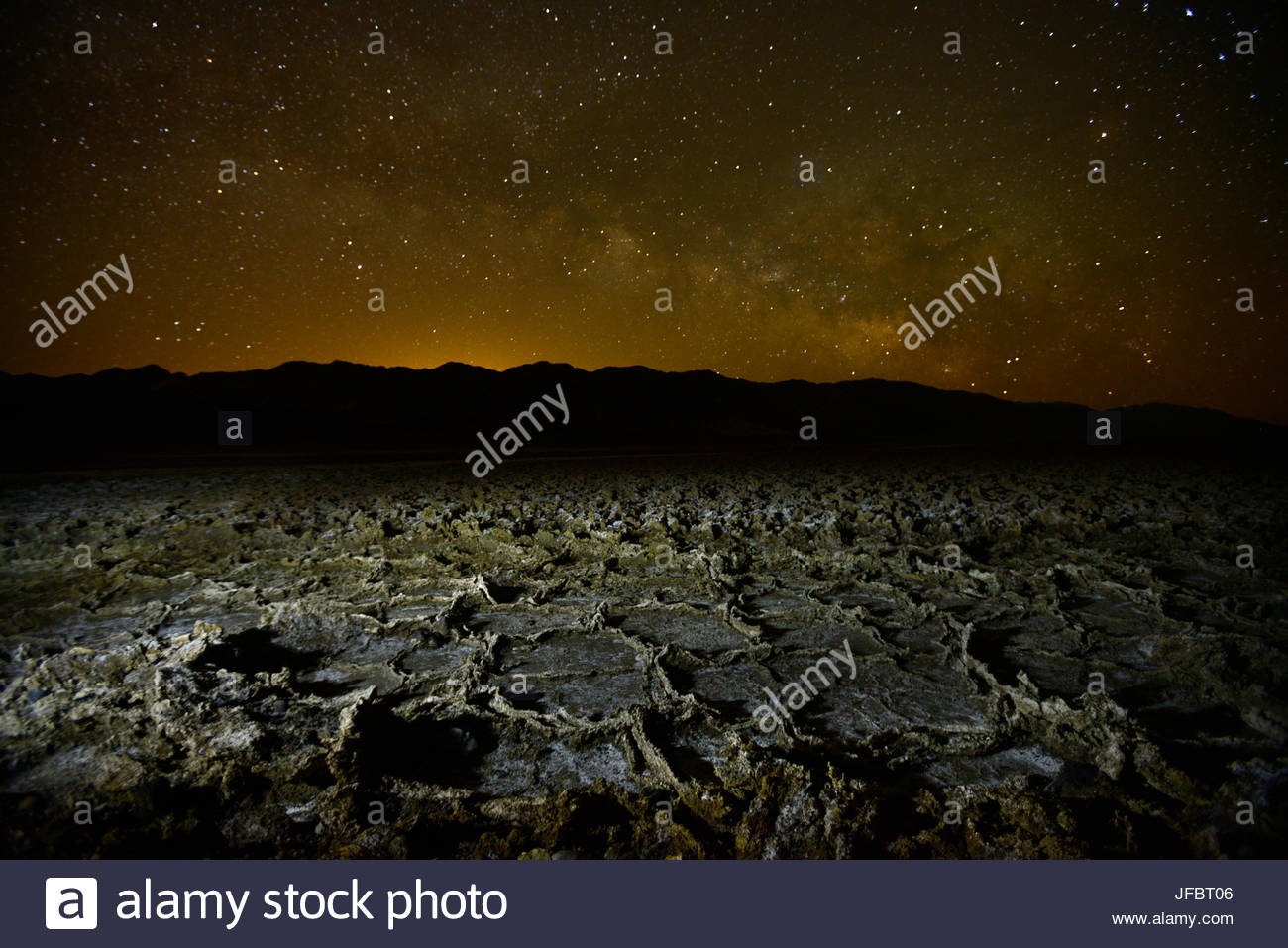 A starry sky over salt deposits along West Side Road. Stock Photo