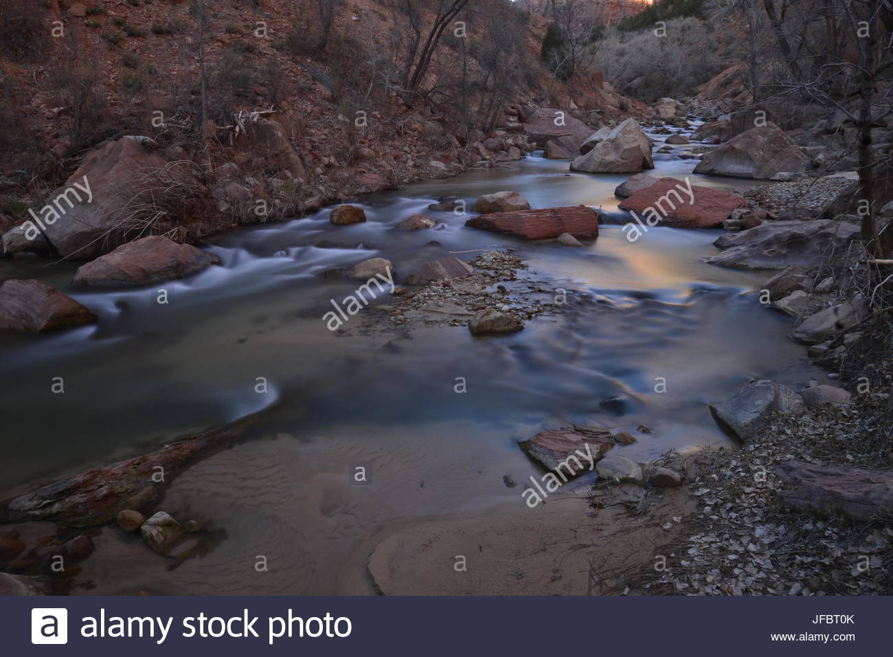 The Virgin River flowing through Zion National Park. - Stock Image