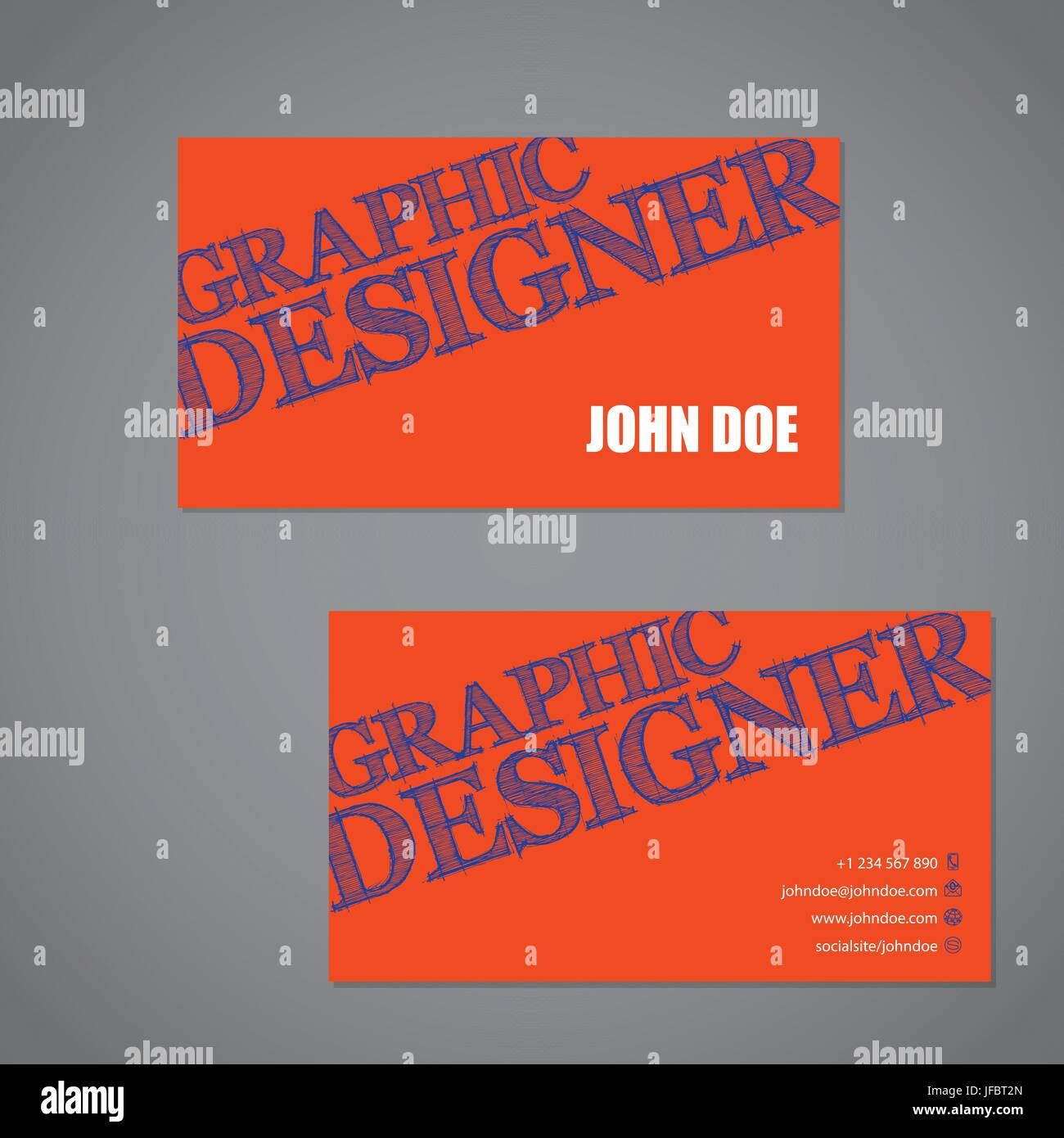 Scribbled text business card in orange blue and white color combo scribbled text business card in orange blue and white color combo colourmoves
