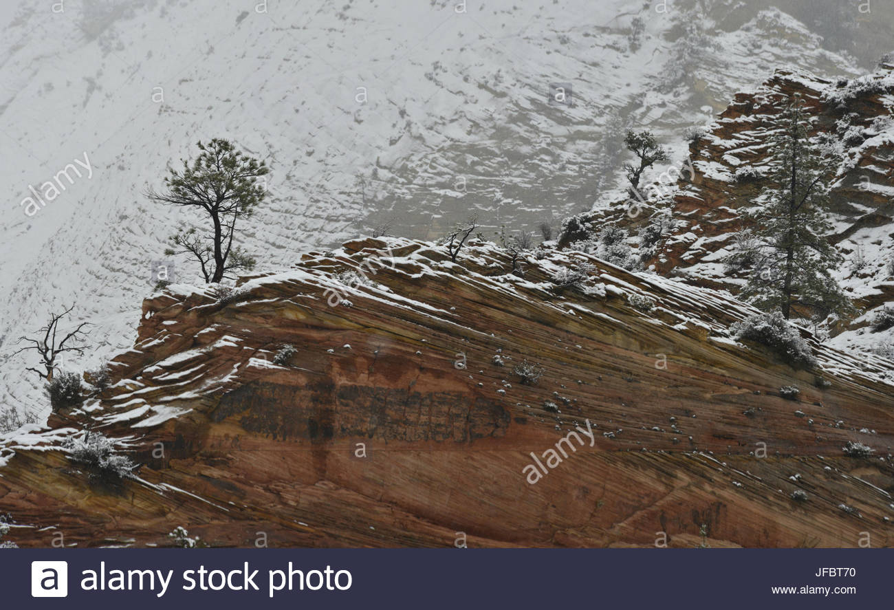 A snow covered landscape in Zion National Park. - Stock Image