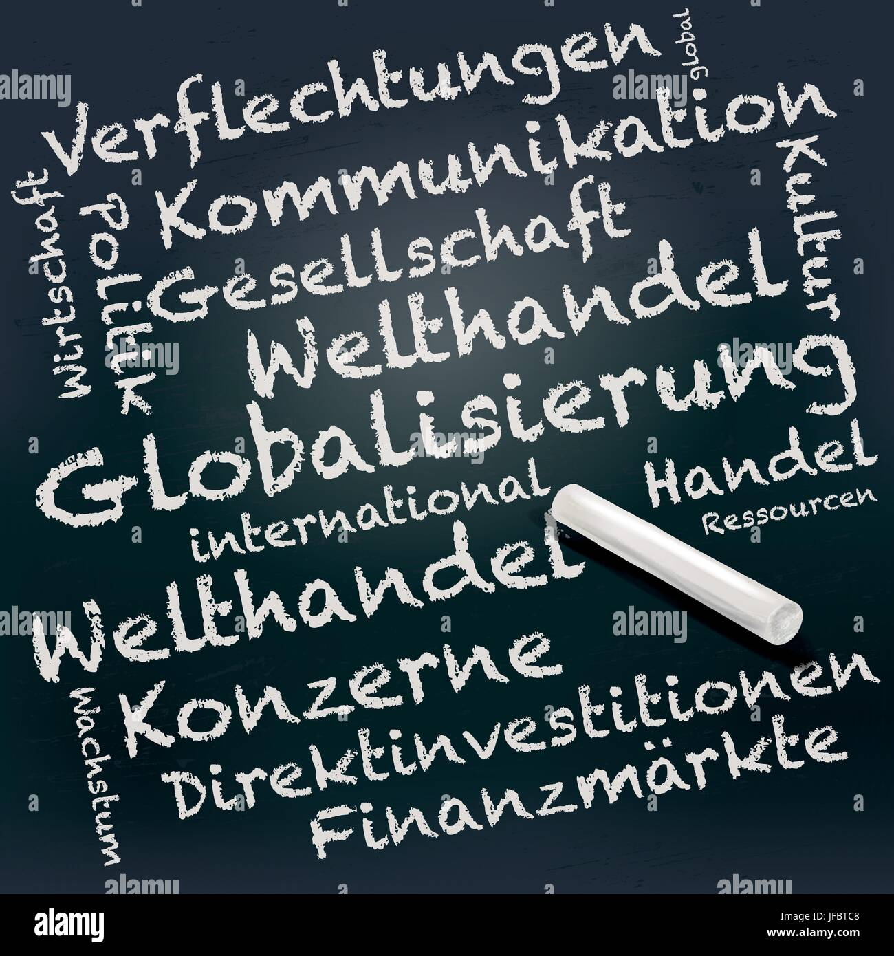blackboard and chalk with globalization - Stock Image