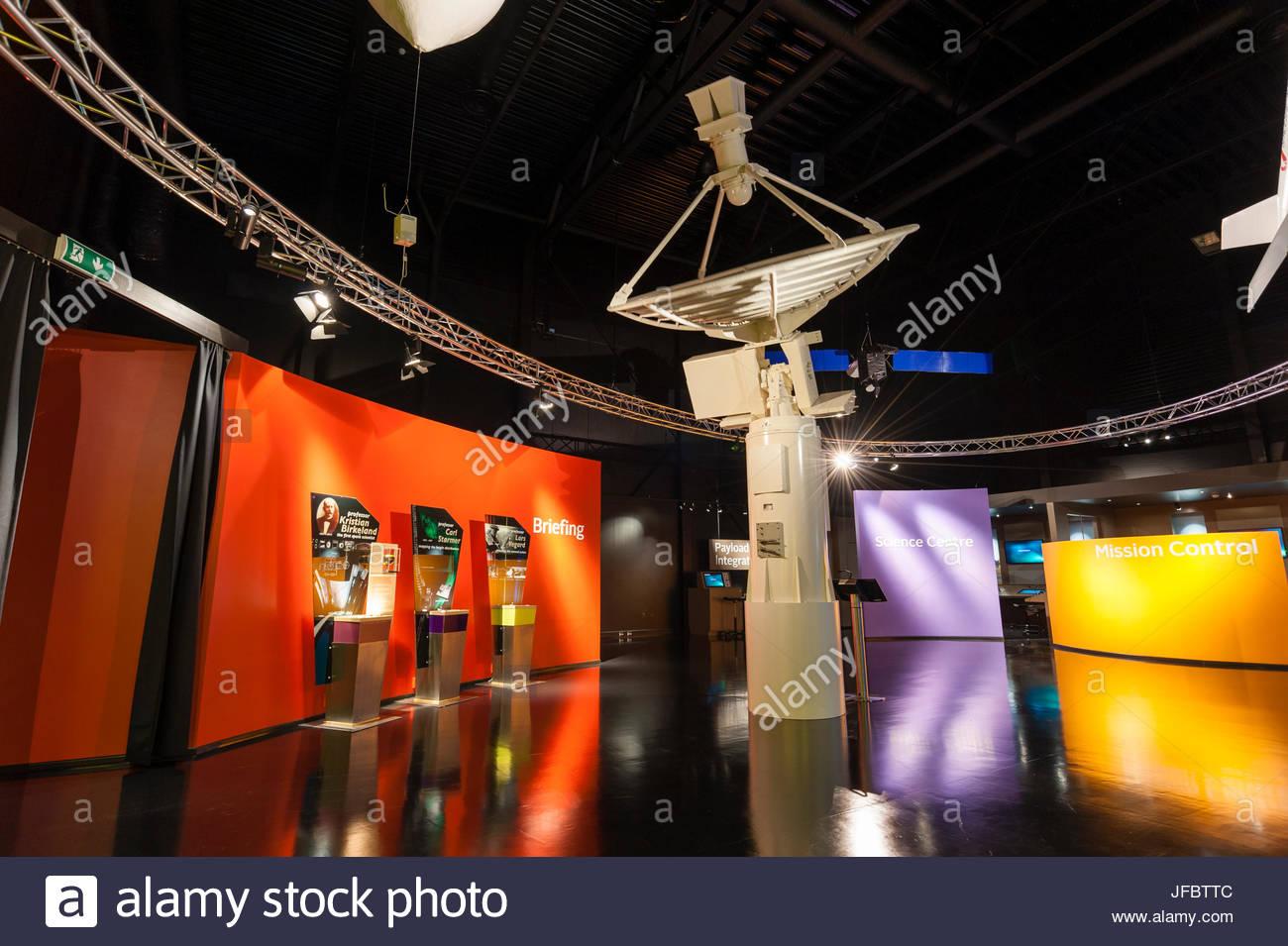 Satellite dish and displays at Spaceship Aurora, at the Andoya Rocket Range. - Stock Image