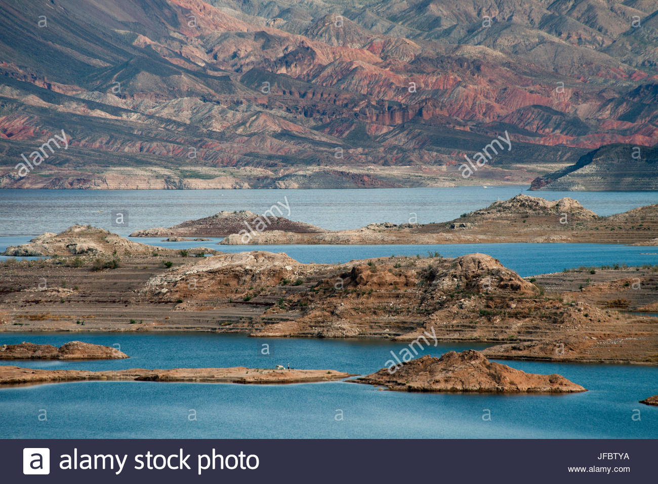 View of the lake's western end in Lake Mead National Recreation Area, Nevada. Stock Photo