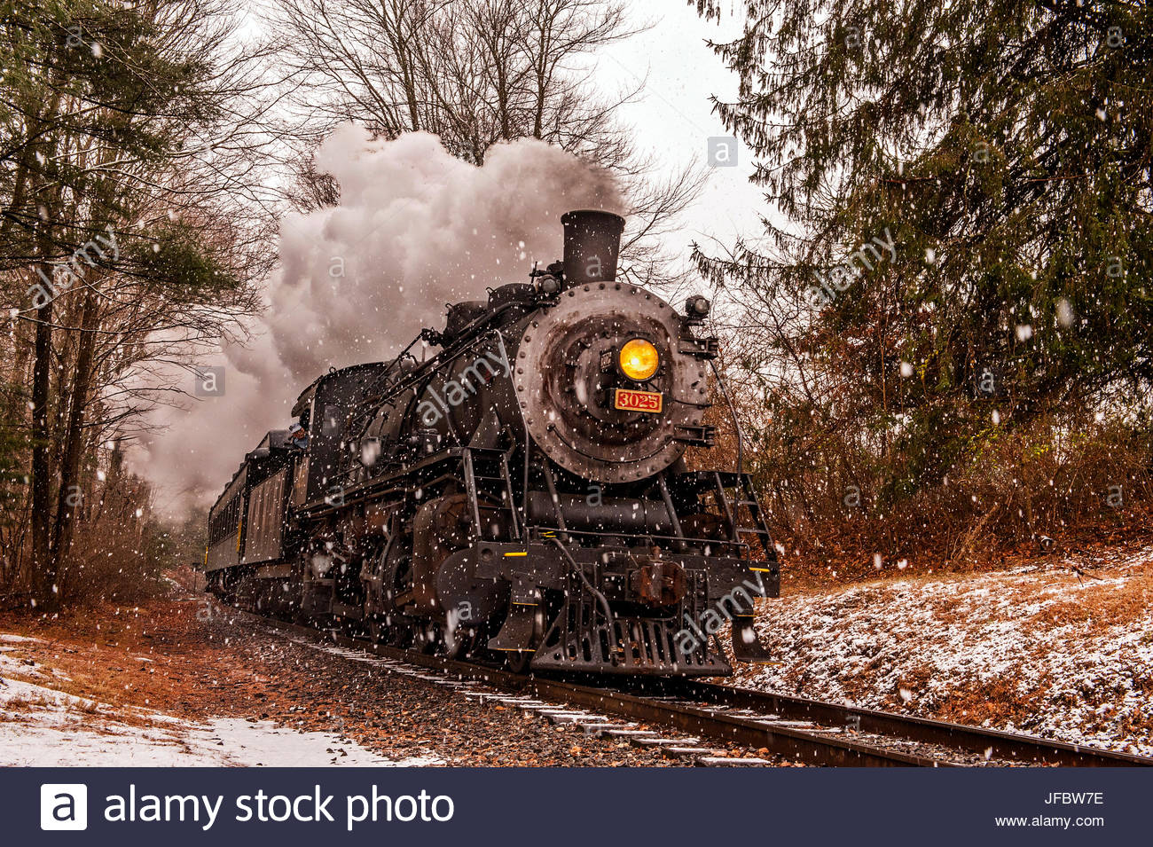 Scenic view of the Essex steam train passing through forests in a snow shower. Stock Photo