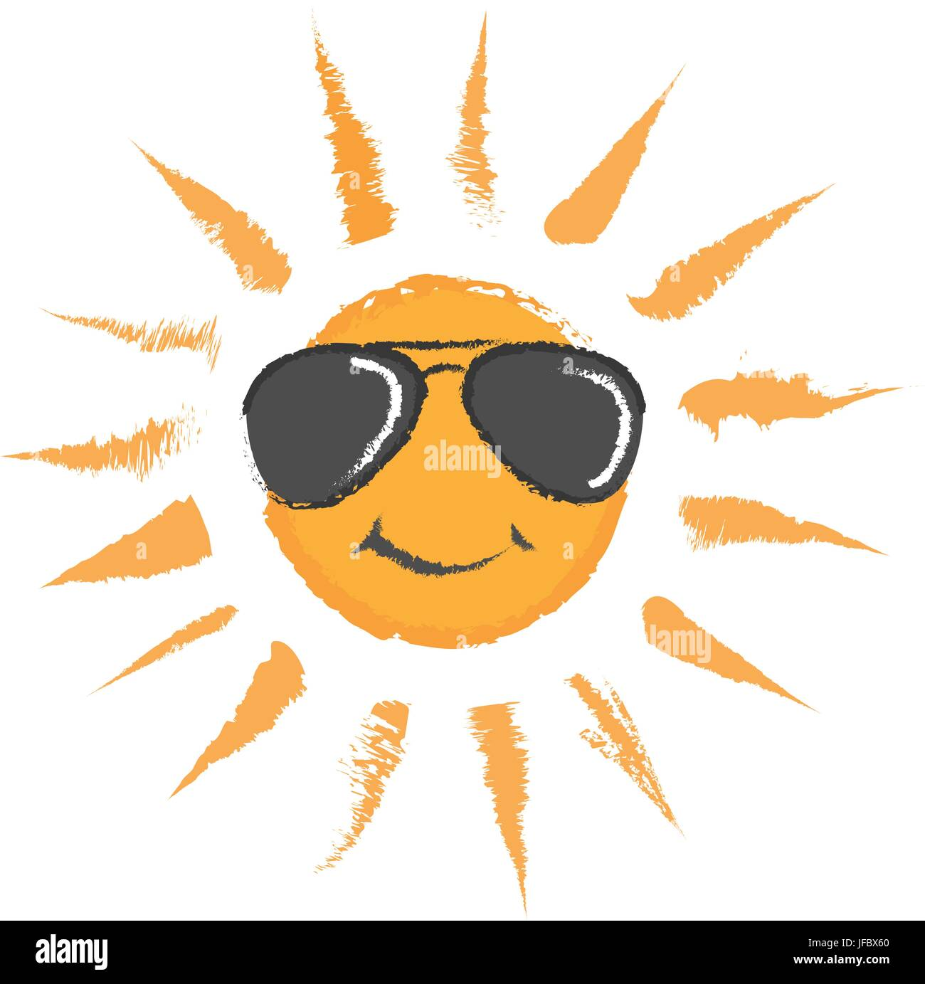 isolated, summer, summerly, illustration, cartoon, vector, sunglasses, - Stock Vector