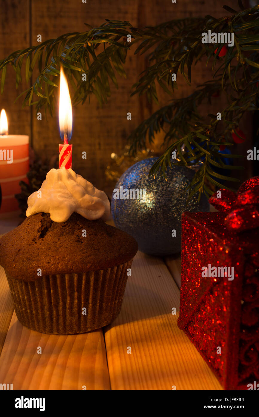 Muffins on Christmas Eve - Stock Image