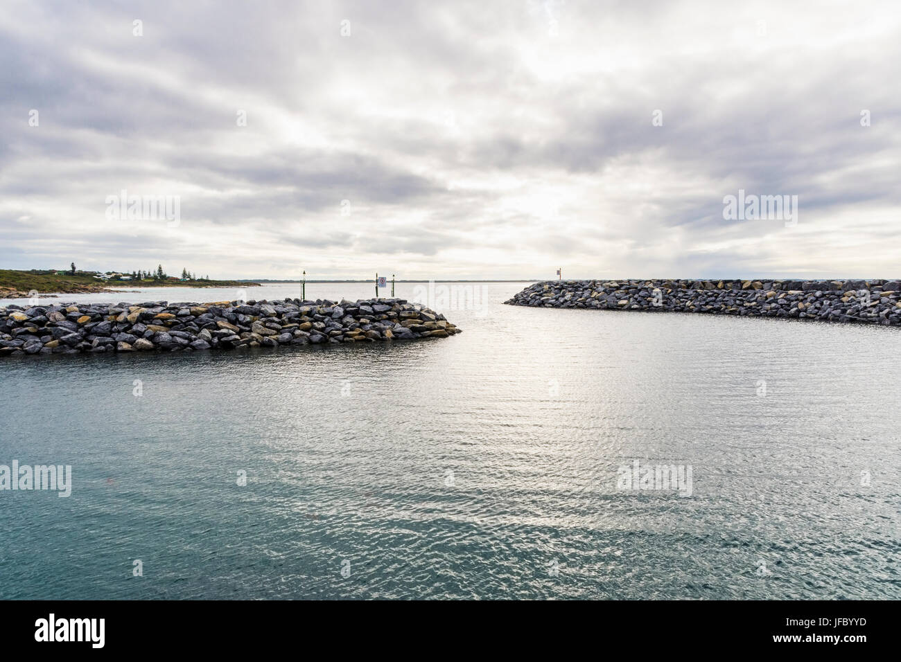 Breakwater groynes and entrance into Flinders Bay, protecting Augusta Boat Harbour, just south of Augusta, Western - Stock Image