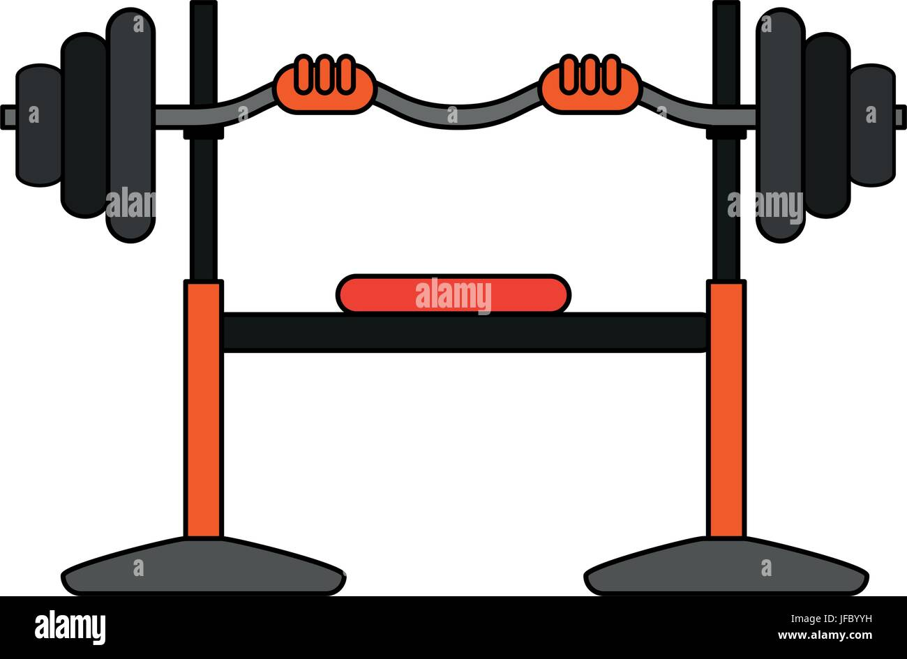 olympic flat bench vector illustration - Stock Image