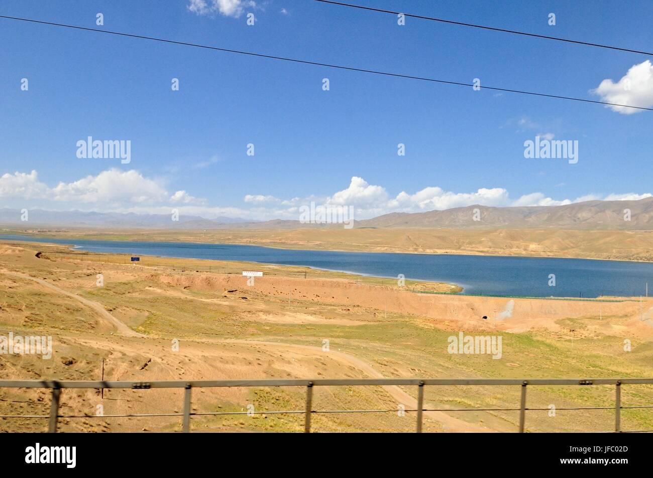 Past lakes with Tibet railway - Stock Image