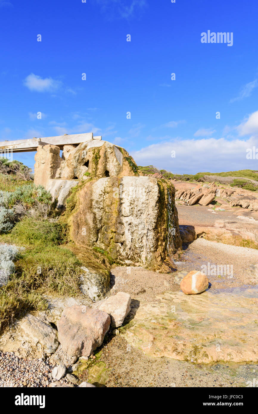 Historic attraction of the old calcified water wheel at Cape Leeuwin, near Augusta in the Leeuwin-Naturaliste National - Stock Image