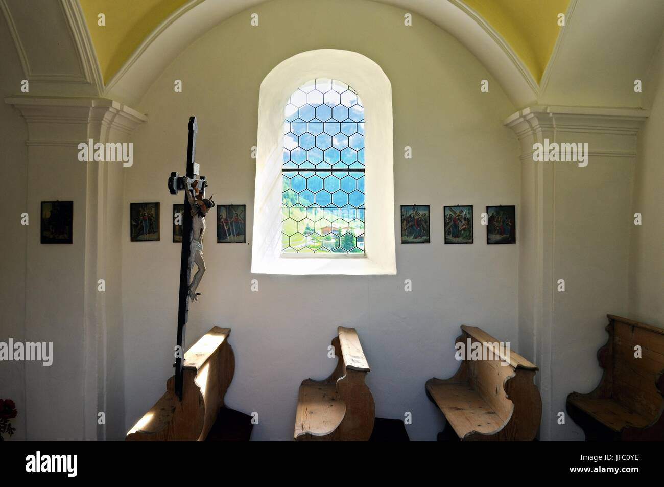 Inside Kelderkapelle Valsertal Tyrol Austria Stock Photo