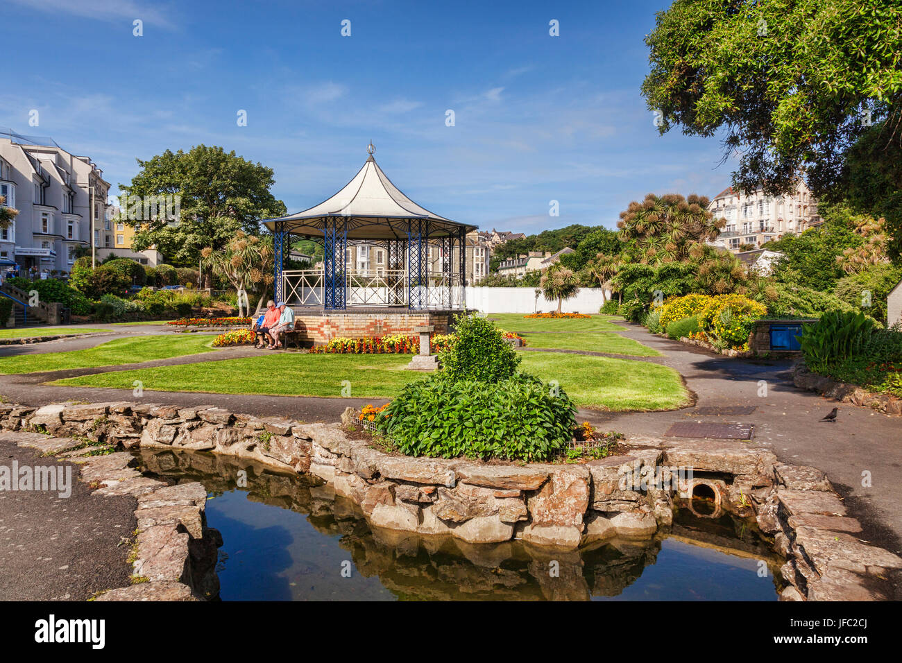 14 June 2017: Ilfracombe, Devon, England, UK - The bandstand in Runnymede Gardens on a warm summer day, Stock Photo