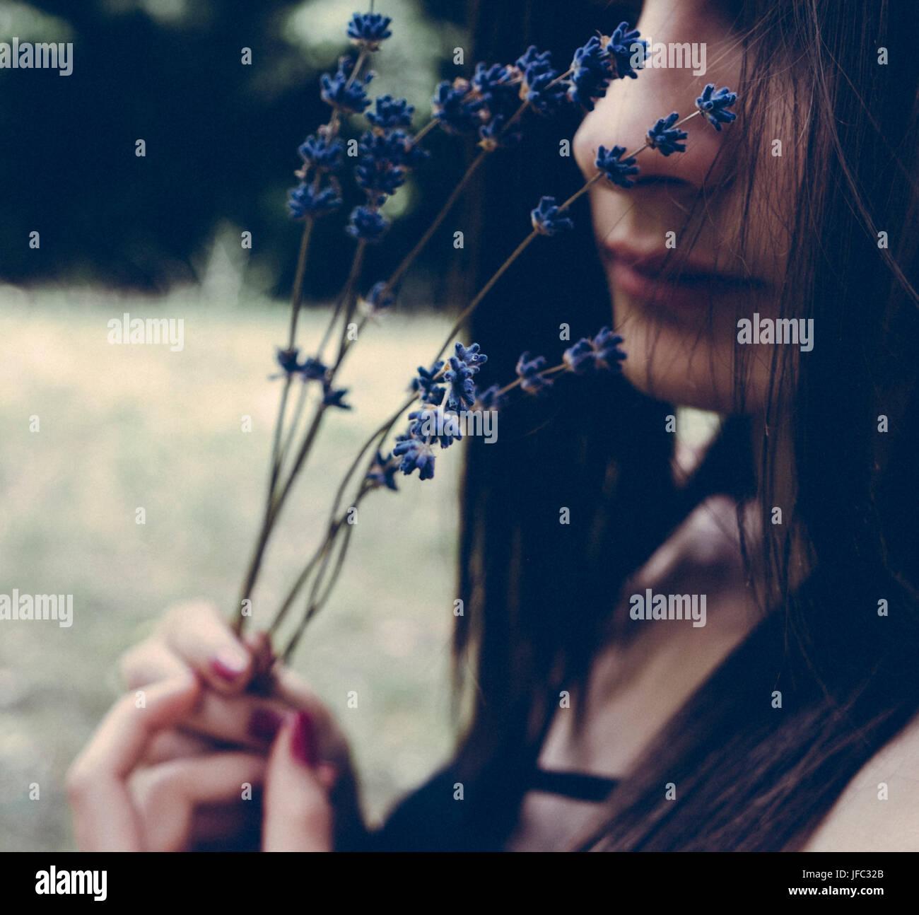 Creative artistic film photo of beautiful woman - Stock Image
