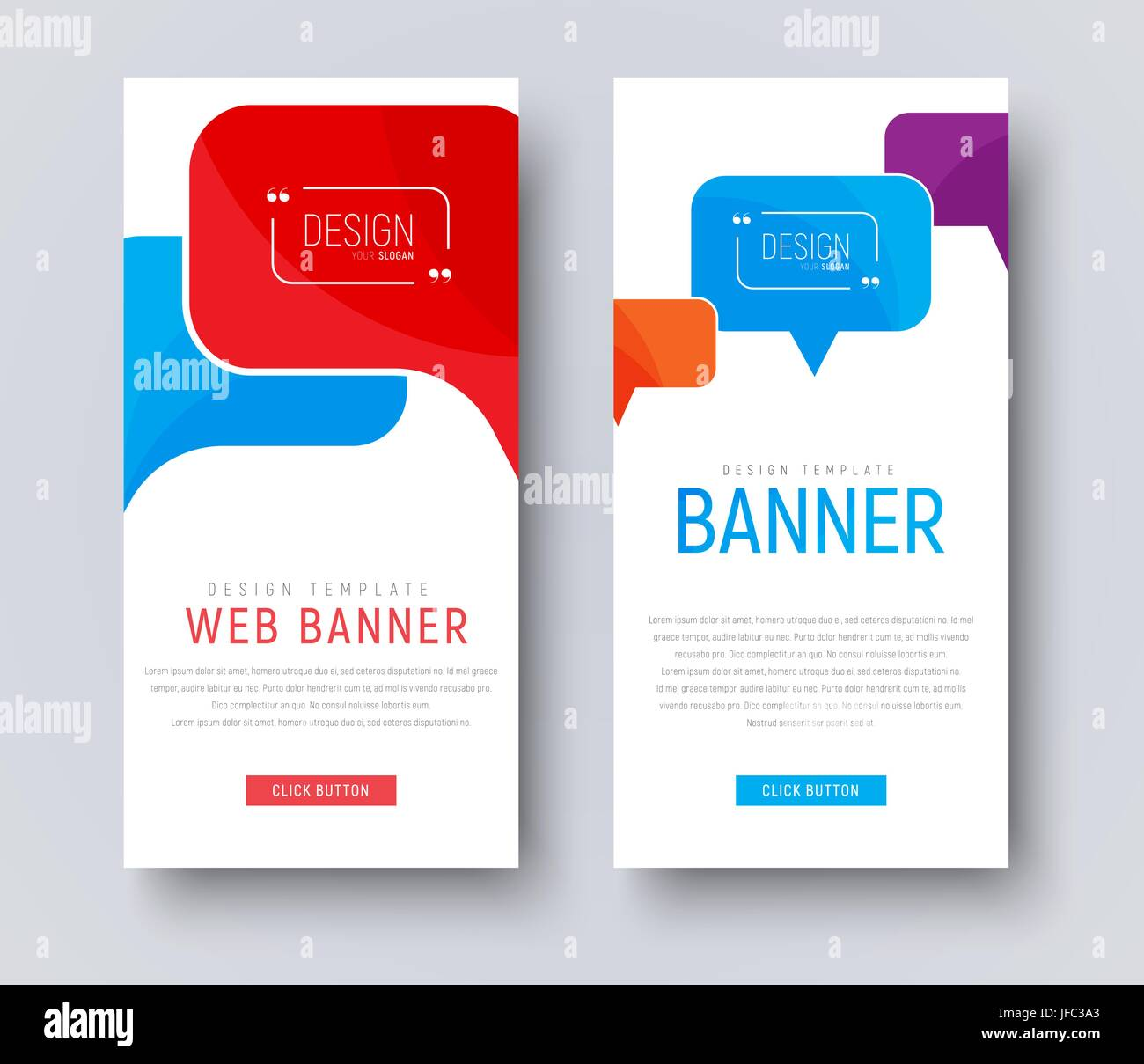 design of white web banners with colored bubbles talking vertical