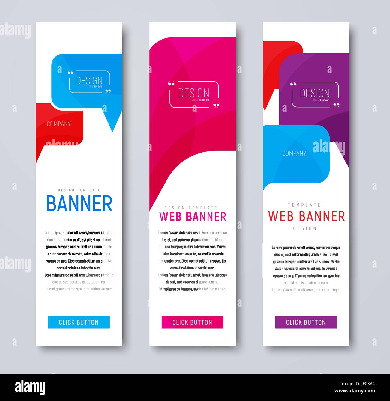 set of web banners with colored bubbles talking and quoting