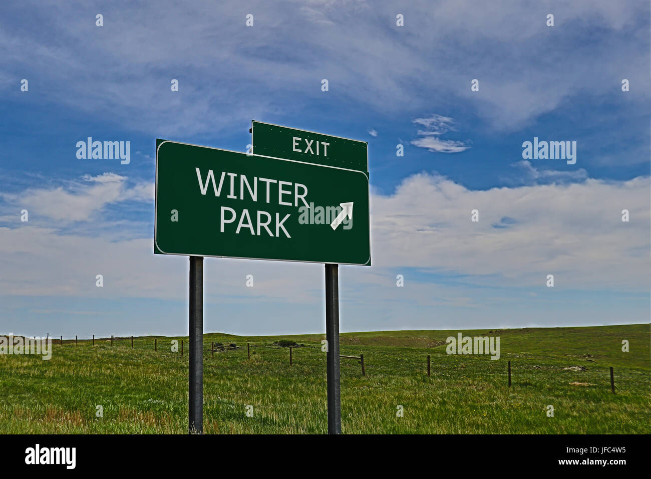 US Highway Exit Sign for Winter Park - Stock Image
