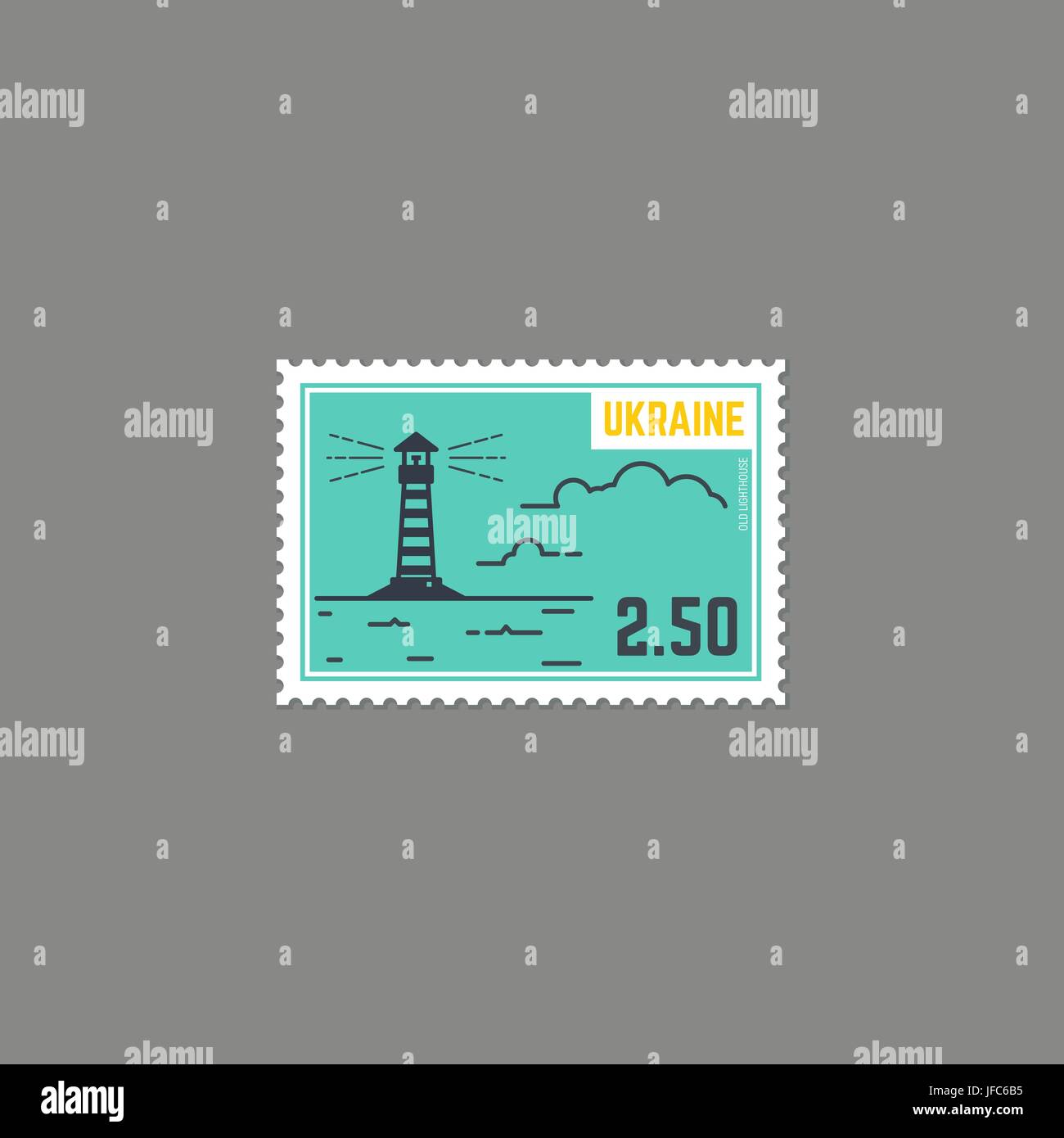 Country Lighthouse Postage Stamp - Stock Vector