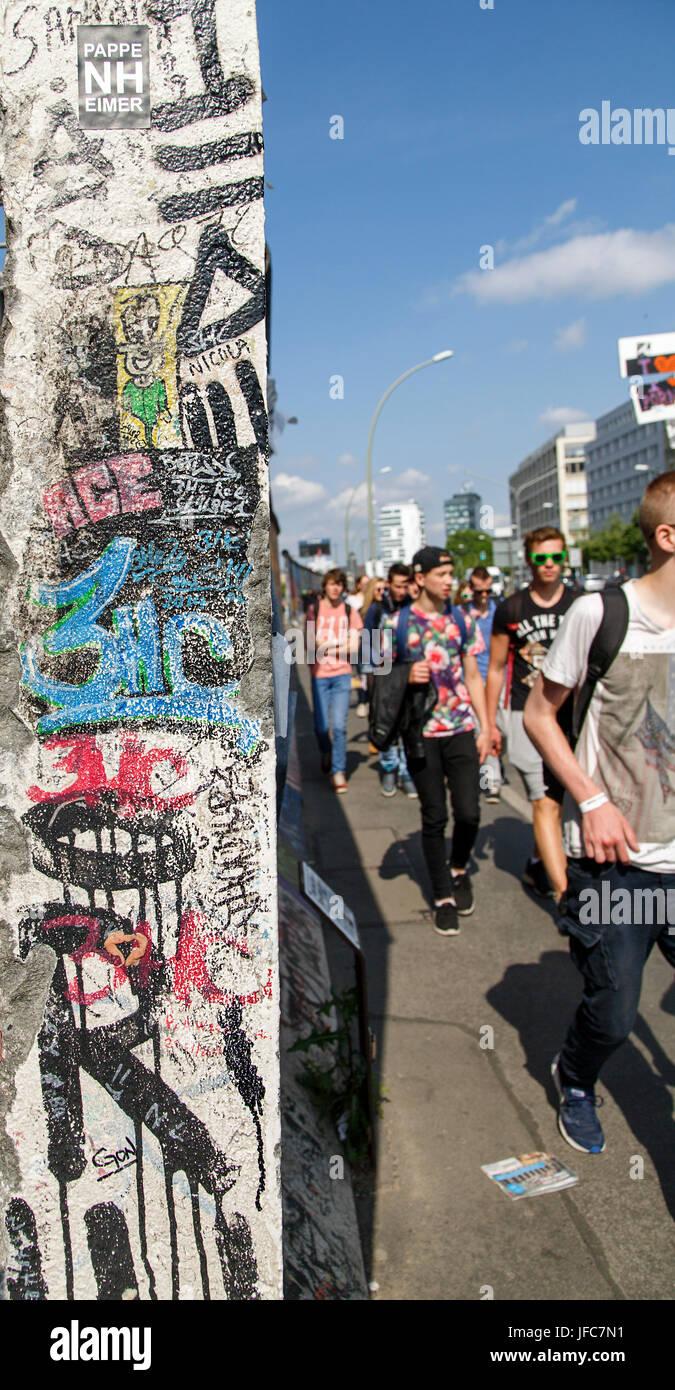 Eastside Gallery - Berlin Wall - Stock Image