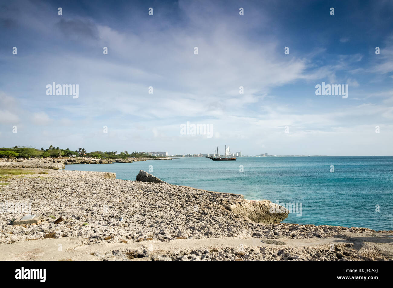 Sailboat anchored as a background in Aruba - Stock Image