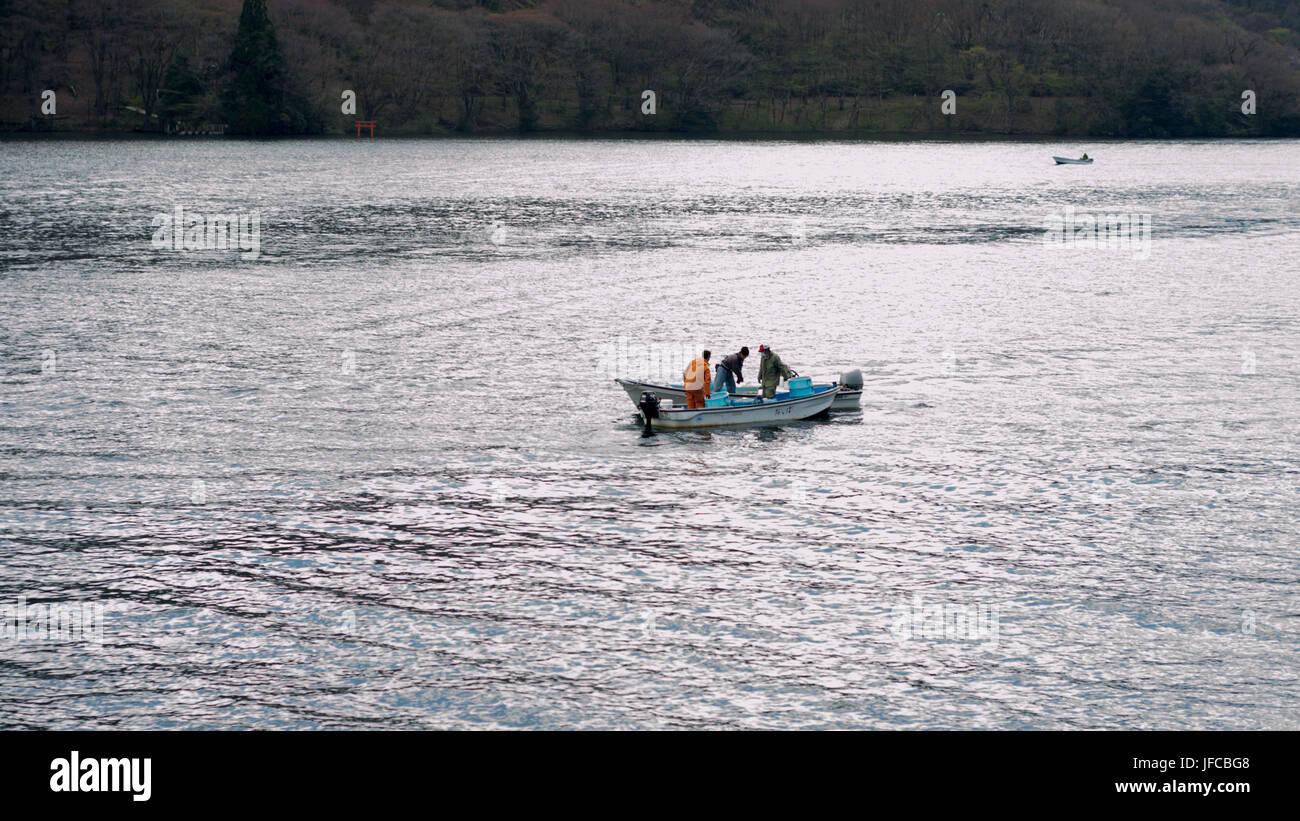 Lake Ashi (Ashi-no-ko) in Hakone, Ashigarashimo District, Kanagawa Prefecture, Japan. - Stock Image