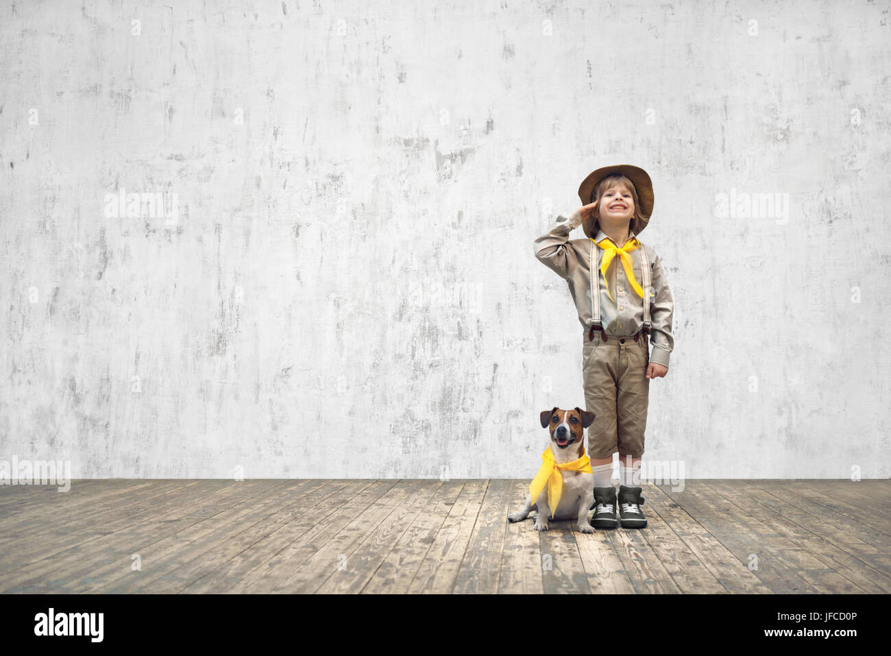 Scout with dog - Stock Image