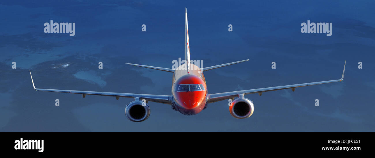 Embraer EMB 190 airliner of Virgin Blue in Australia. Photographed from an R44 helicopter. - Stock Image
