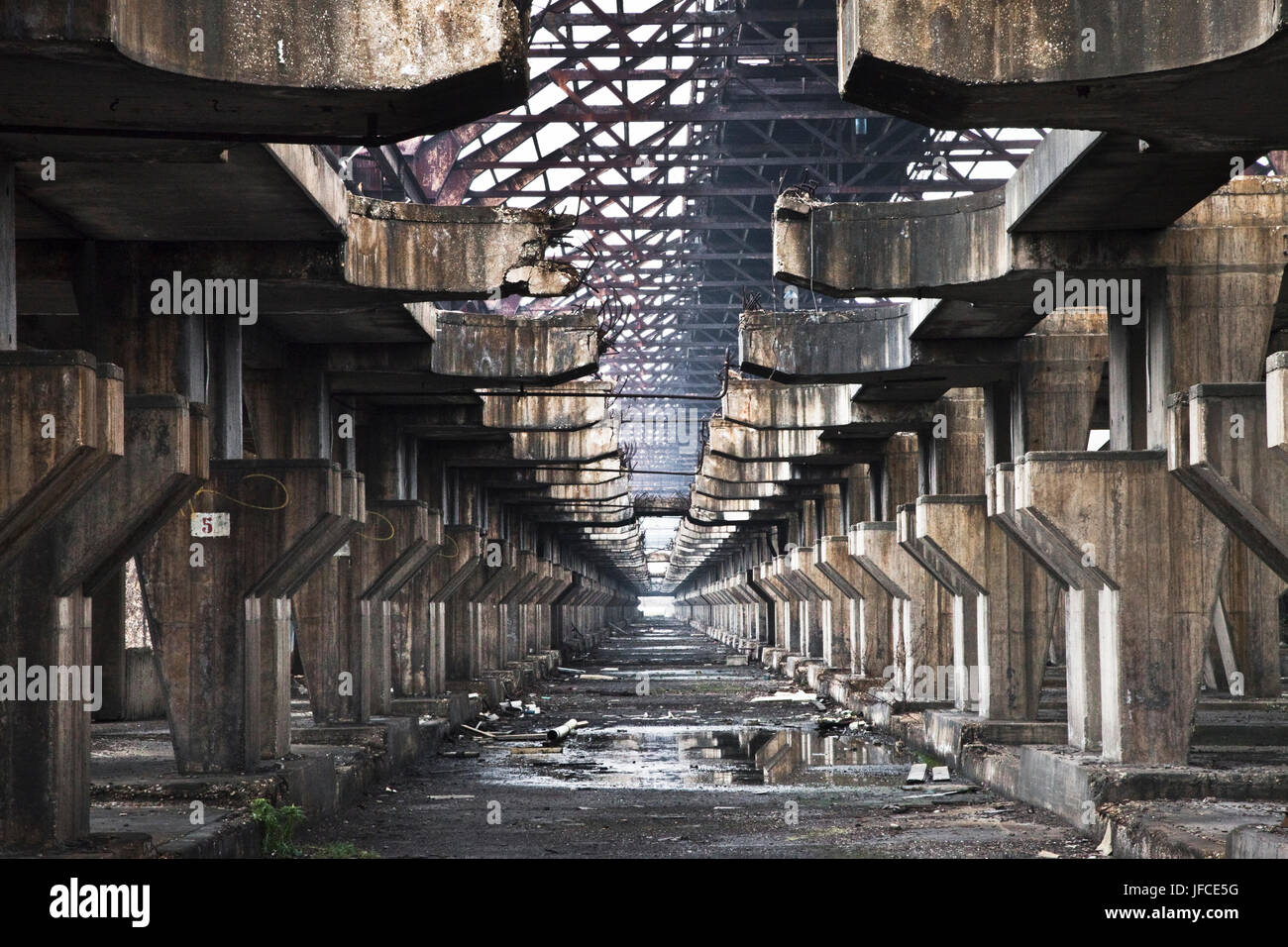 An abandoned industrial site in Fusina near Venice, Italy. Stock Photo