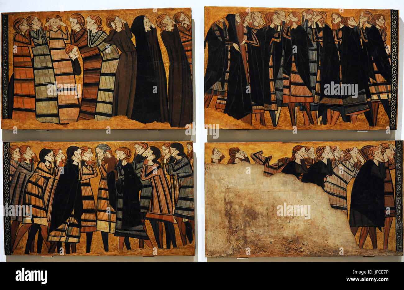 Panel depicting mourners or weepers. Part of the decoration of the tomb of the knight Sancho Sanchez Carrillo and - Stock Image