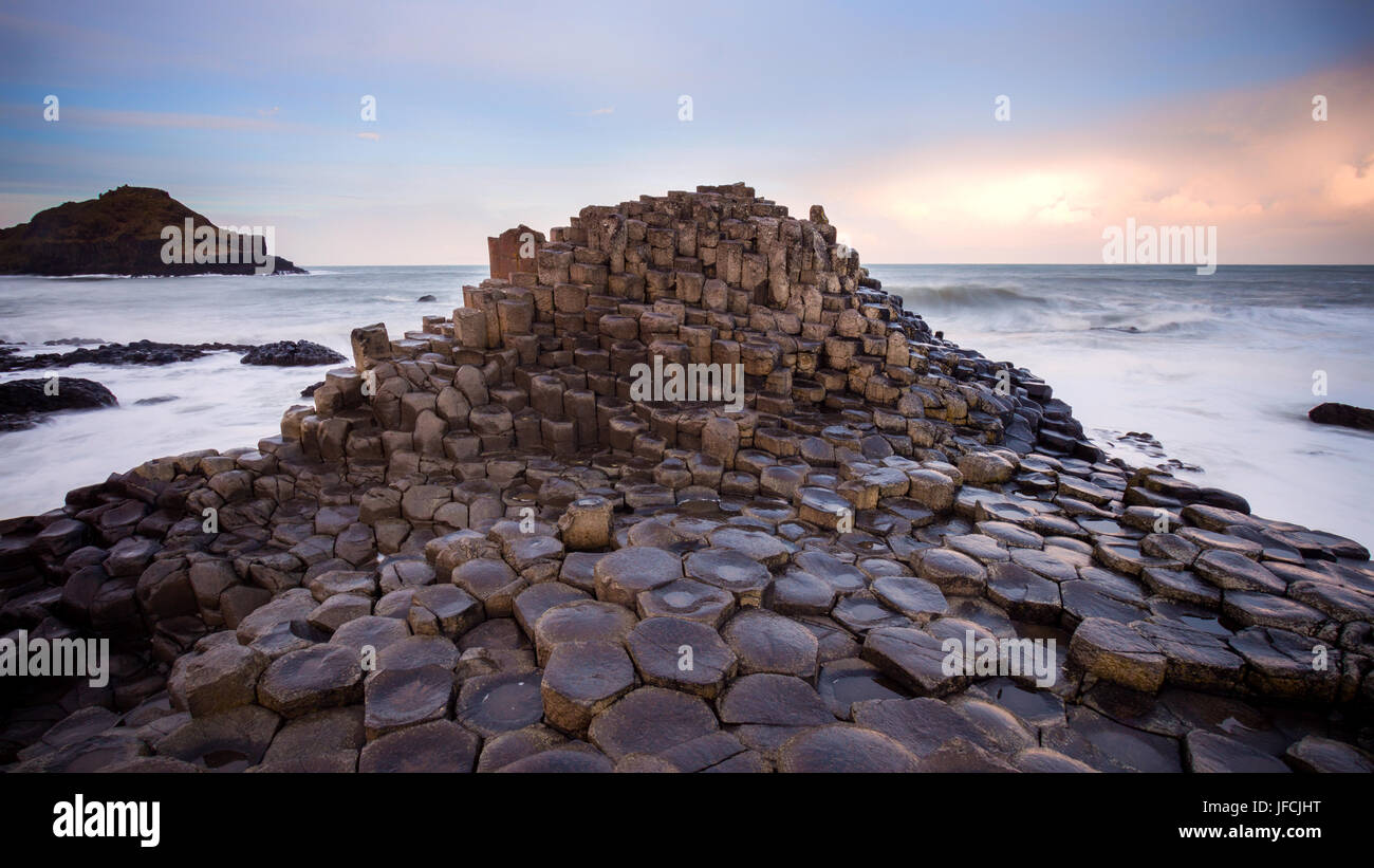 Sunset view on the Giants Causeway in Northern Ireland - Stock Image