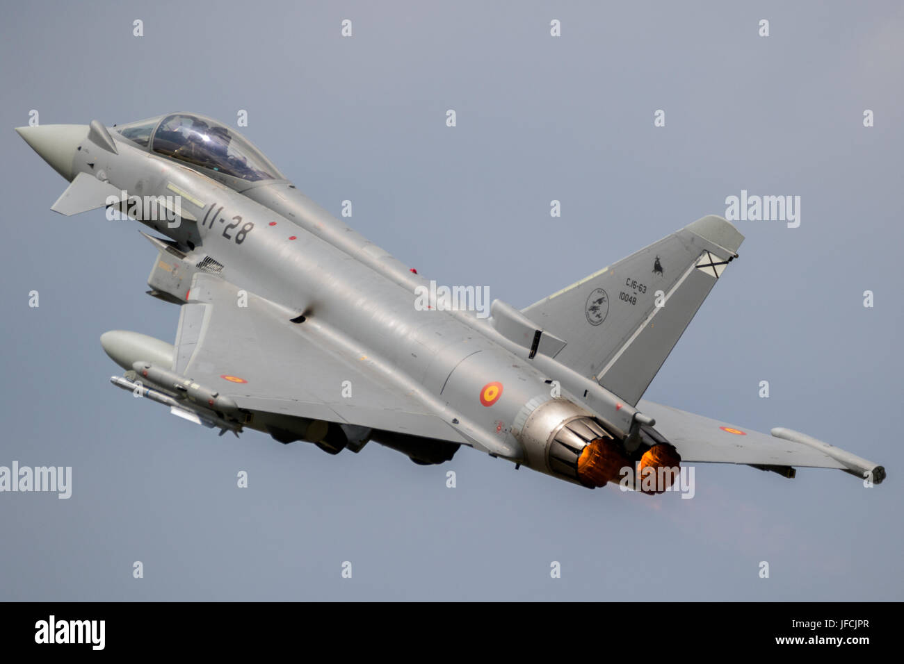 FLORENNES, BELGIUM - JUN 15, 2017: Spanish Air Force Eurofighter Typhoon fighter jet taking off with afterburner Stock Photo