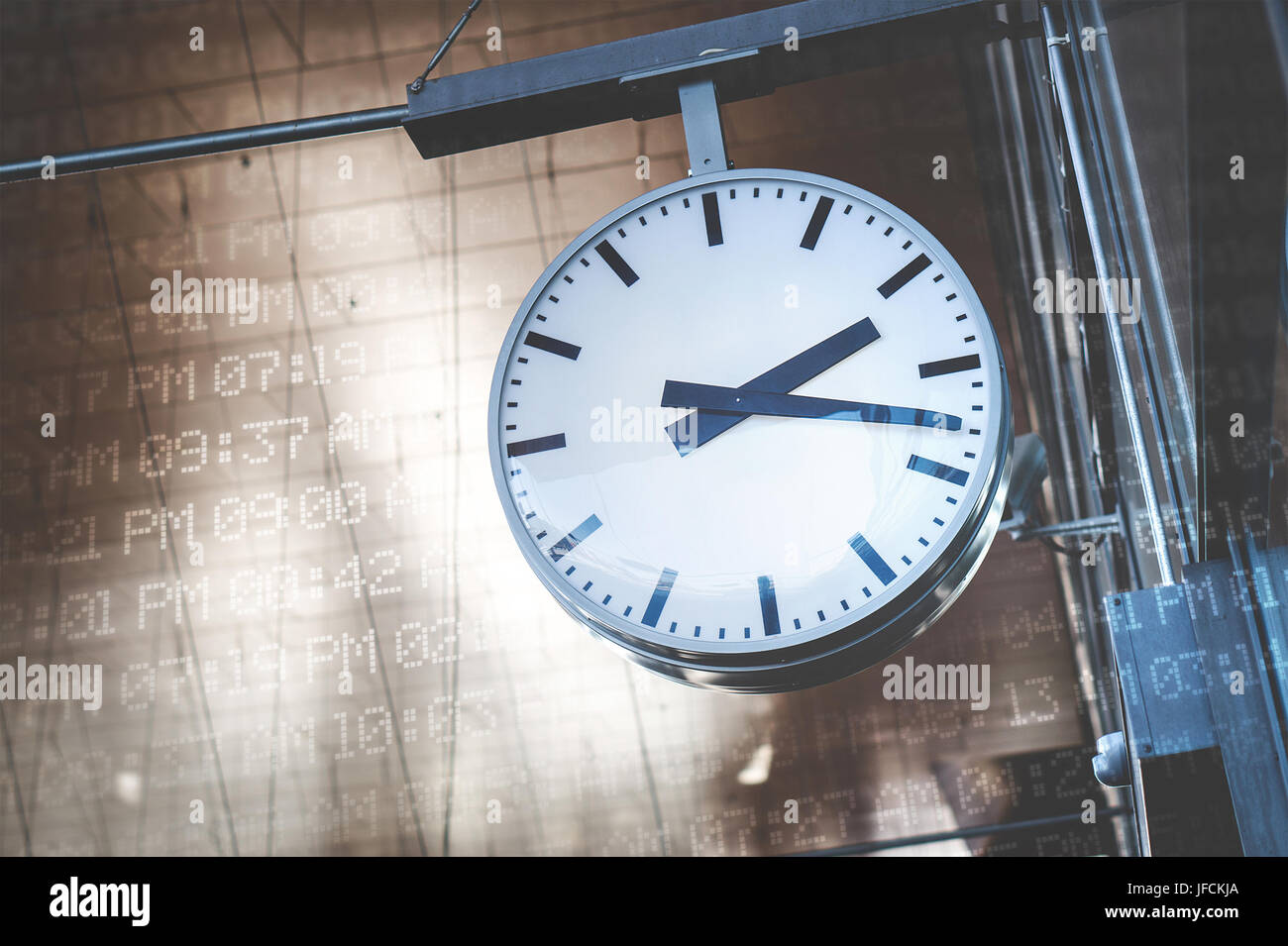 Time management and scheduling concept. Analog clock surrounded with digital time codes, AM and PM. - Stock Image