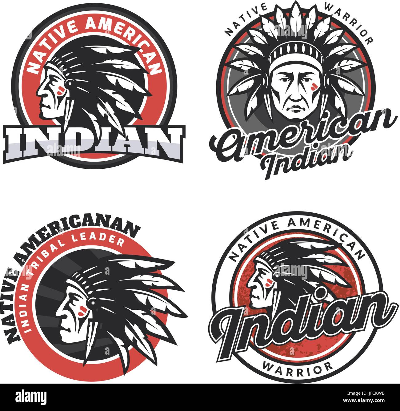 Set of american indian round logo, badges and emblems isolated on white background. Face, head of american indian. - Stock Image
