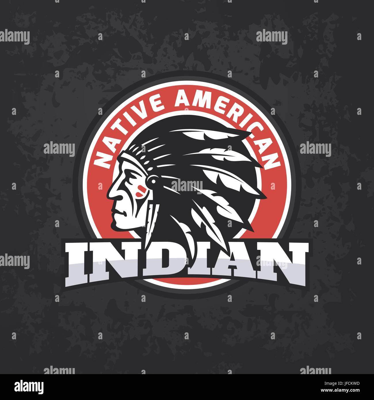 Round American Indian logo on dark grunge background. Tee print design - Stock Image