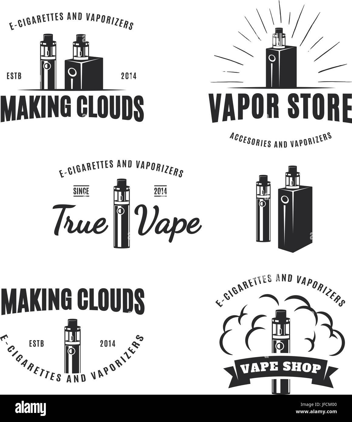 Set of vape, e-cigarette logo, emblems, and badges isolated on white background. Vector vintage illustration. - Stock Image