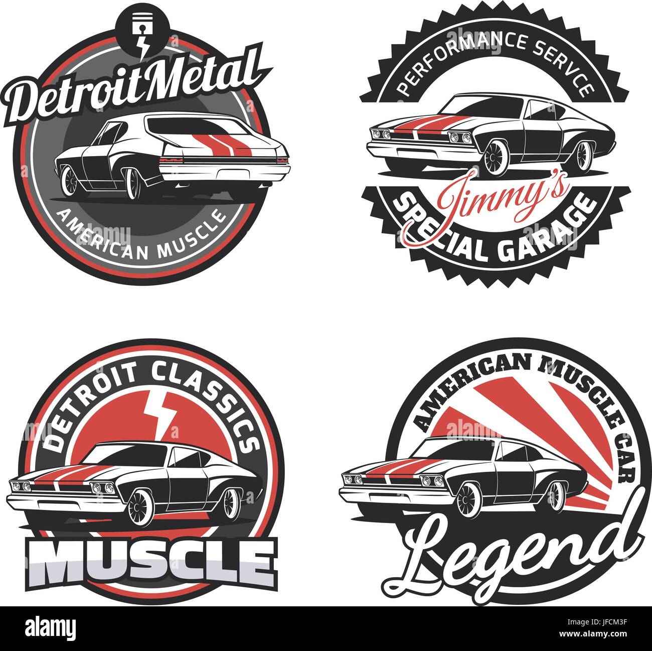 Set Of Classic Muscle Car Round Emblems Badges And Signs Vintage