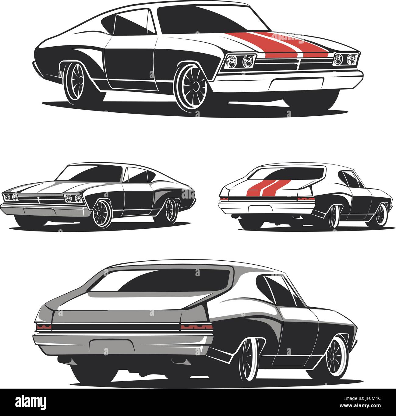 Set Of Muscle Car Templates For Icons And Emblems Isolated On White