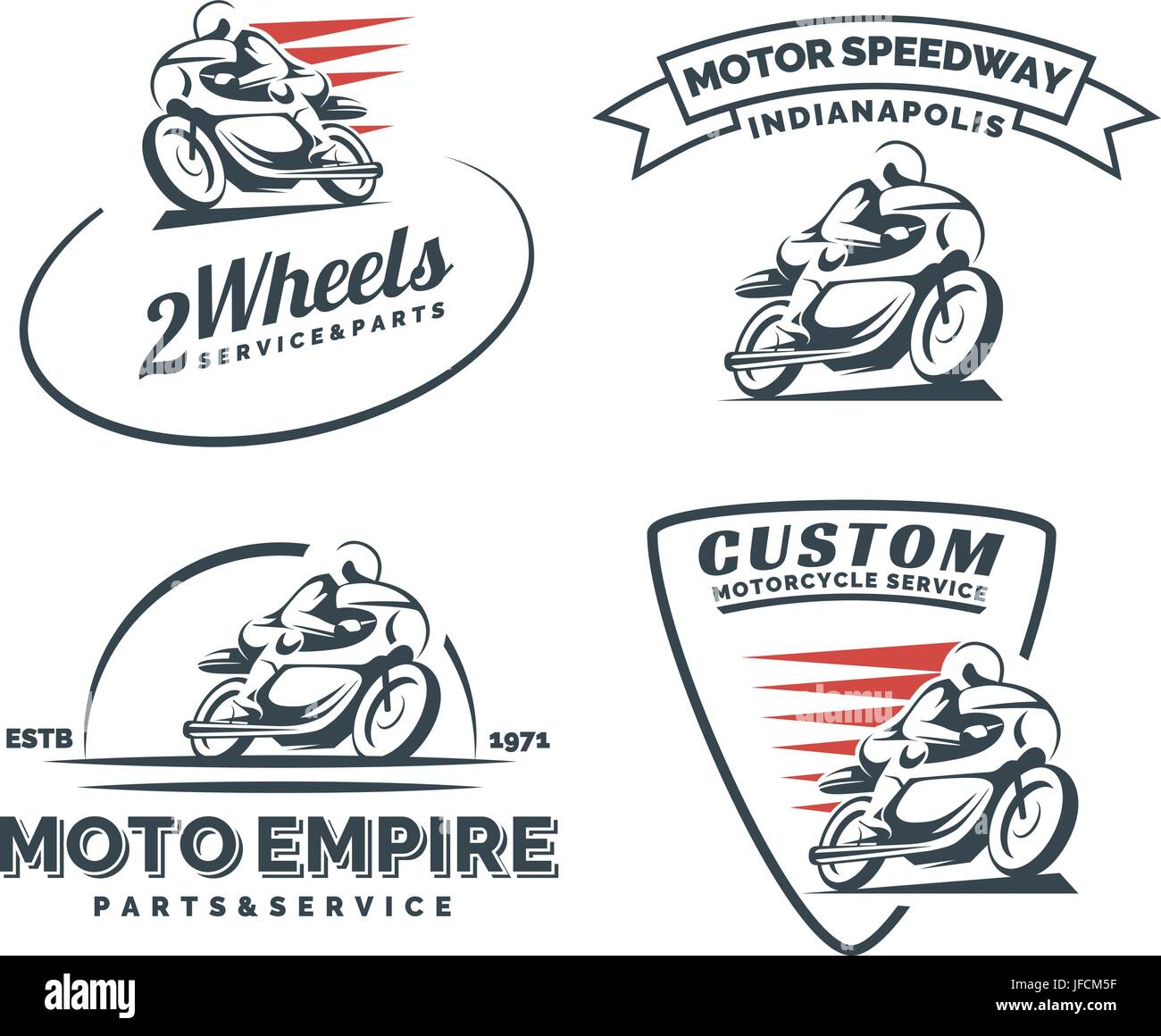 Vintage cafe racer motorcycle logo, badges and emblems isolated on white  background. Motorcycle restoration, service and parts. Classic motorcycle  t-s