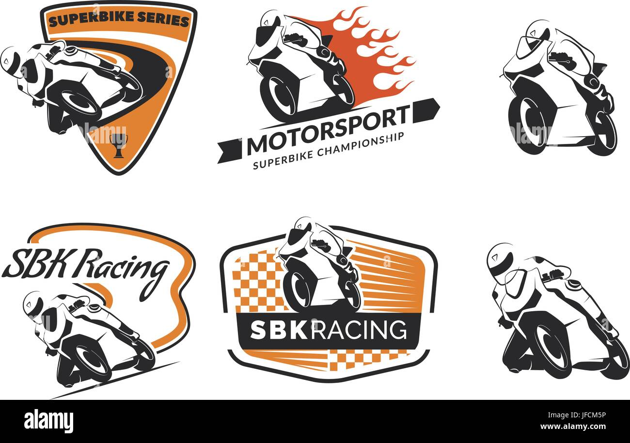 set of racing motorcycle logo badges and icons