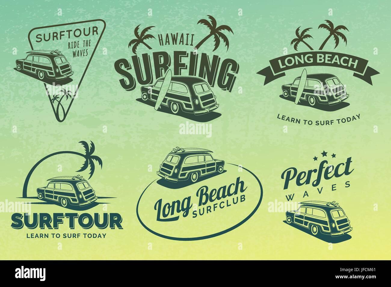 997cf72d92e Set of vintage surfing car labels