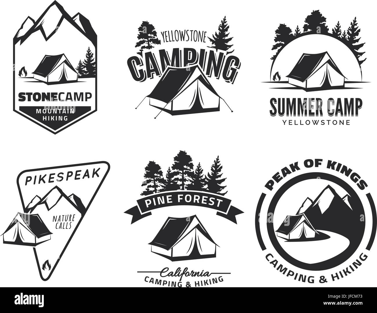 Set of vintage camping and outdoor adventure emblems, logos and badges. Tent in forest or mountains. Camping equipment. - Stock Image