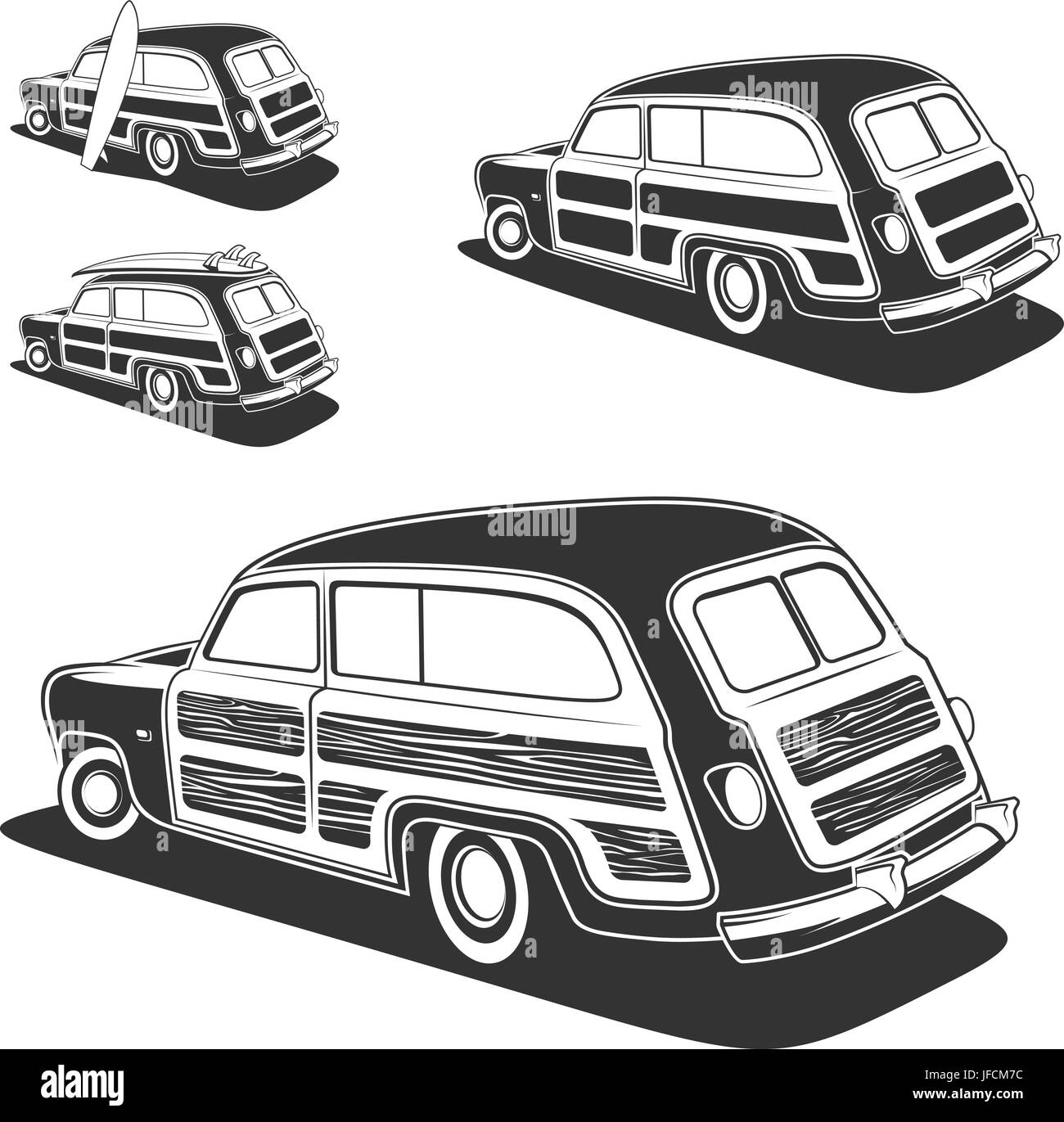 Retro surfboard woodie wagon car isolated on white background. Vector illustration. - Stock Vector