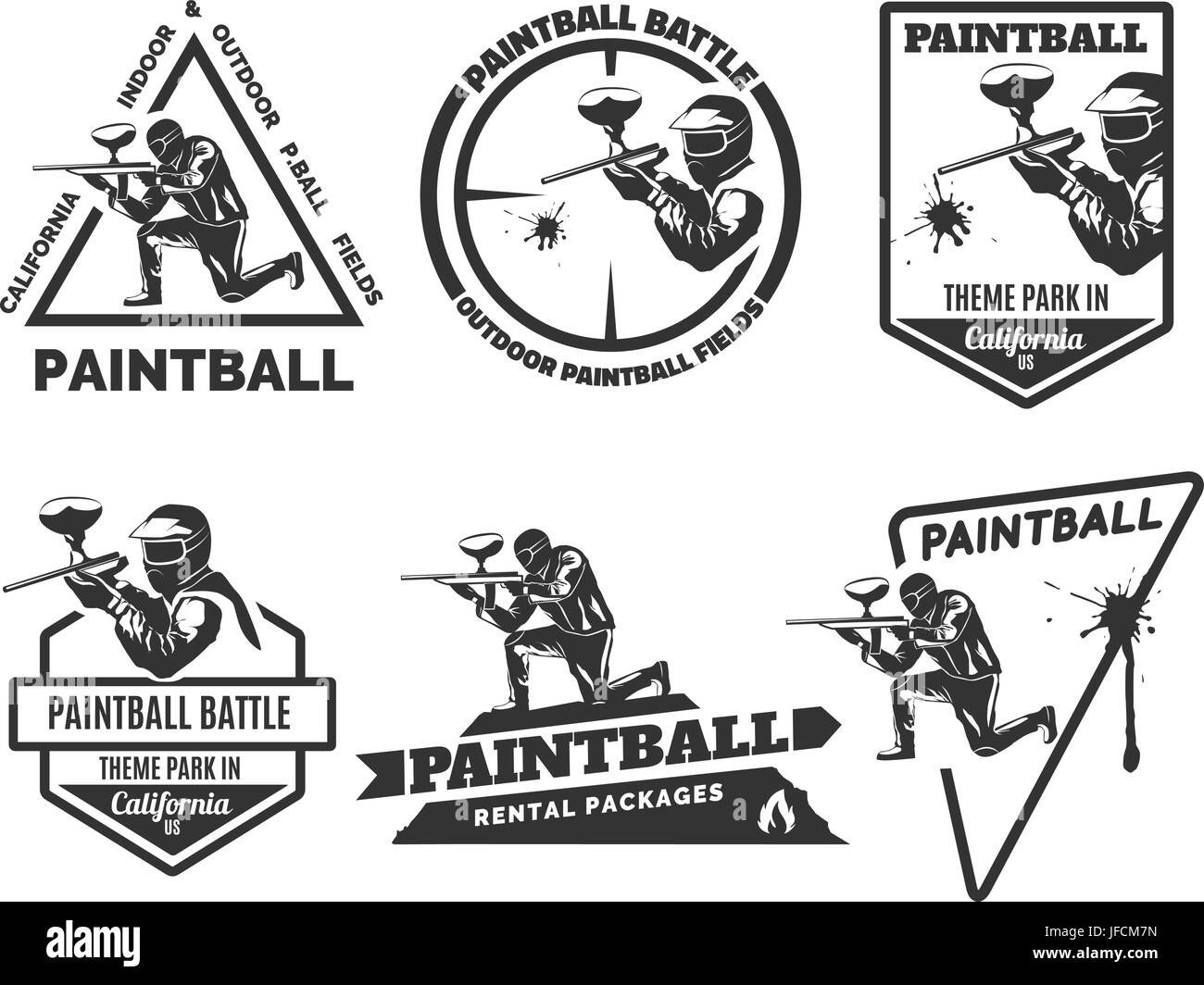 set of monochrome paintball logos emblems and icons indoor and rh alamy com paintball logo creator paintball lagos