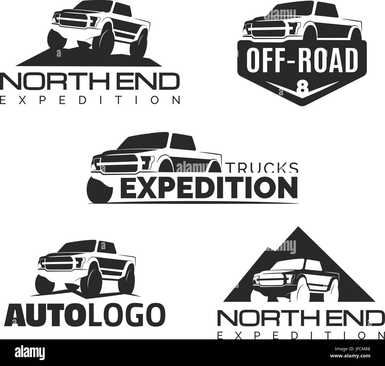 Set Of Modern Suv Pickup Emblems, Icons And Logos. Offroad