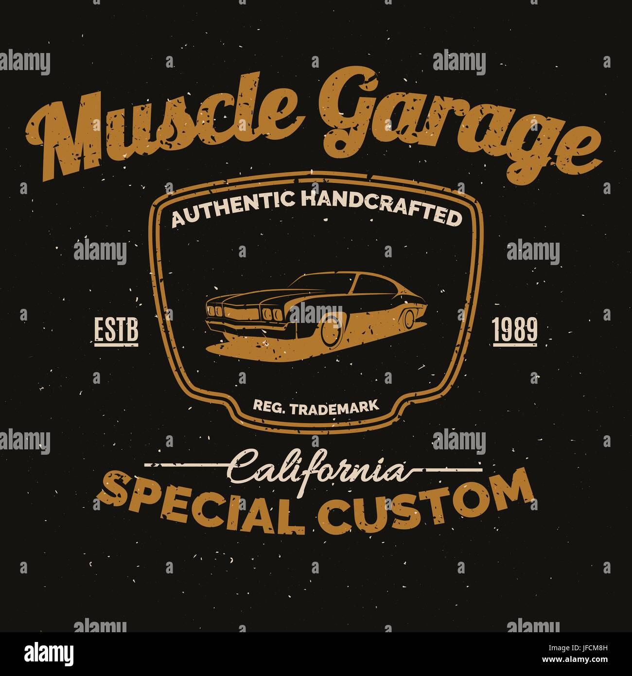 Vintage American Muscle Car Tee Print Design With Grunge Stock