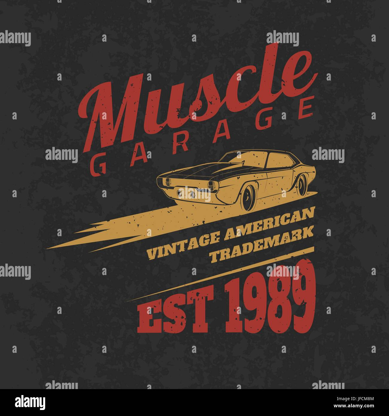 Vintage American Muscle Car Tee Print Design With Grunge TextureVector Old School Race Poster T Shirt