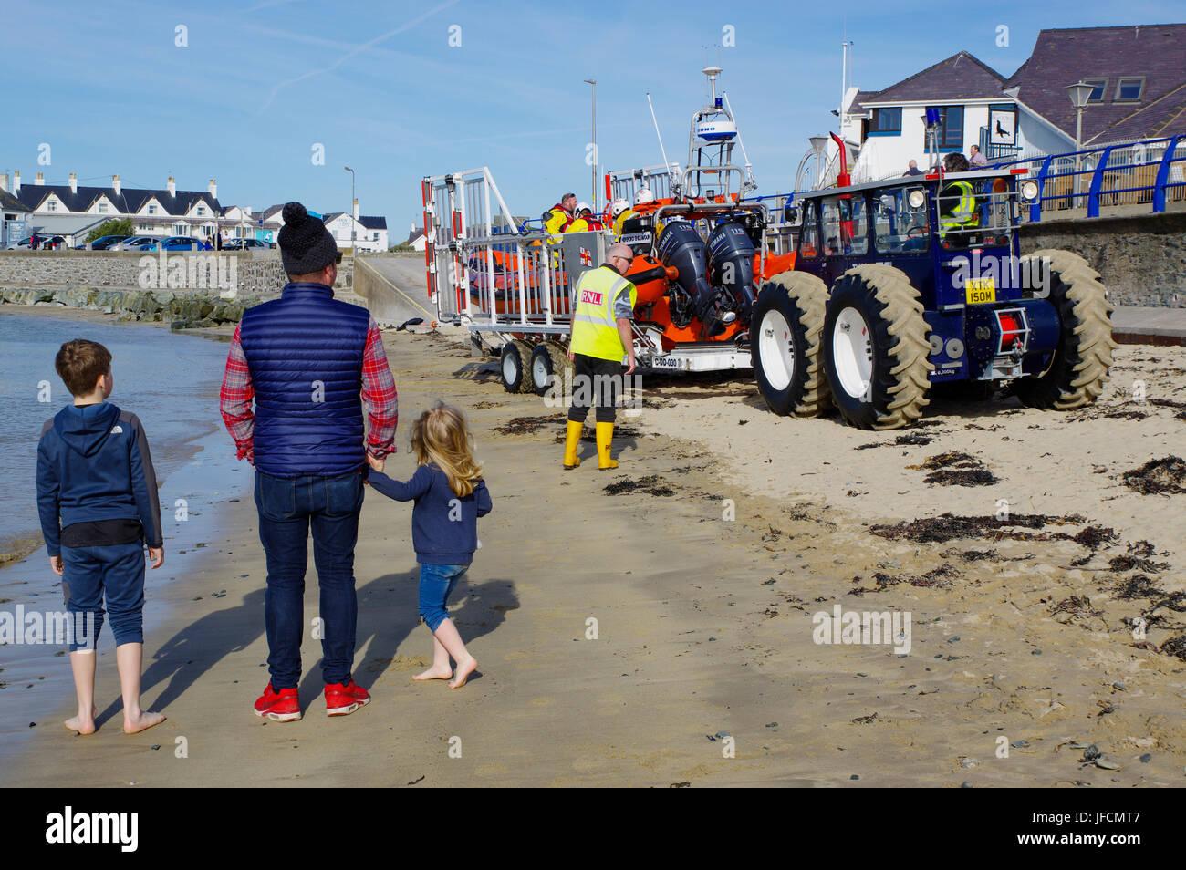 Trearddur  Bay Lifeboat, - Stock Image