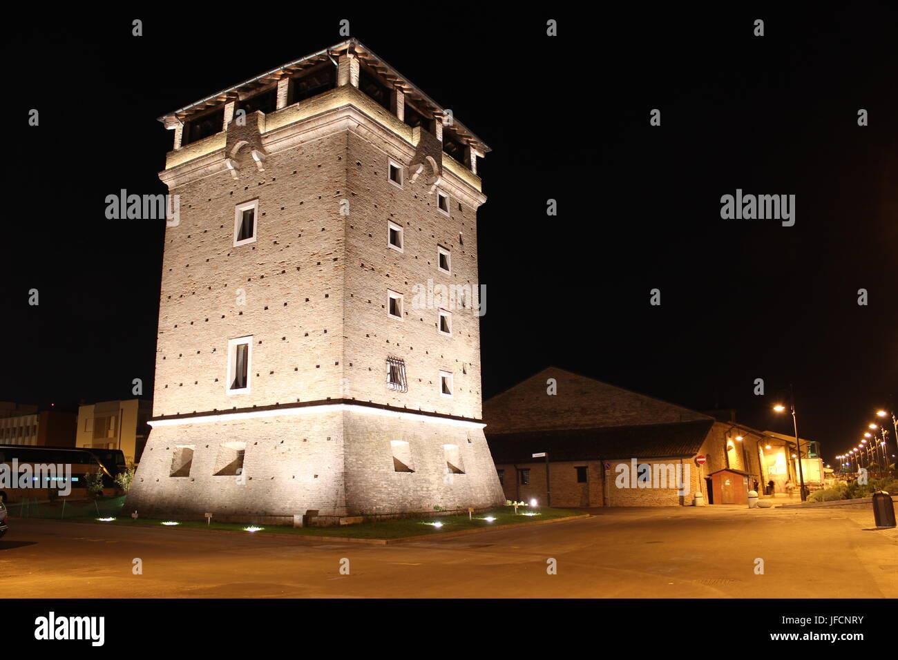 Torre di San Michele Cervia Night Stock Photo