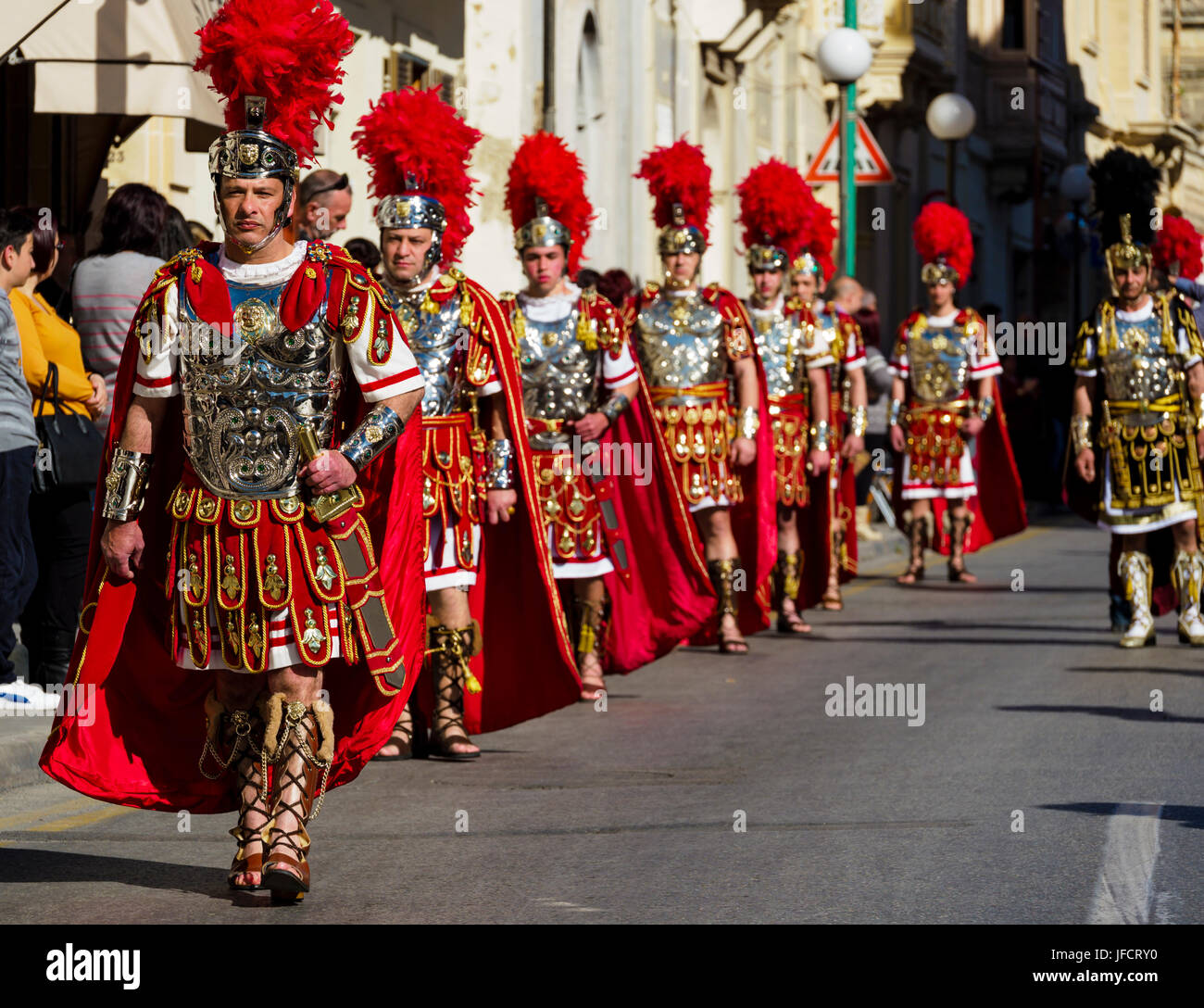 Inhabitants of Zejtun / Malta had their traditional Good Friday procession in front of their church, some of them - Stock Image