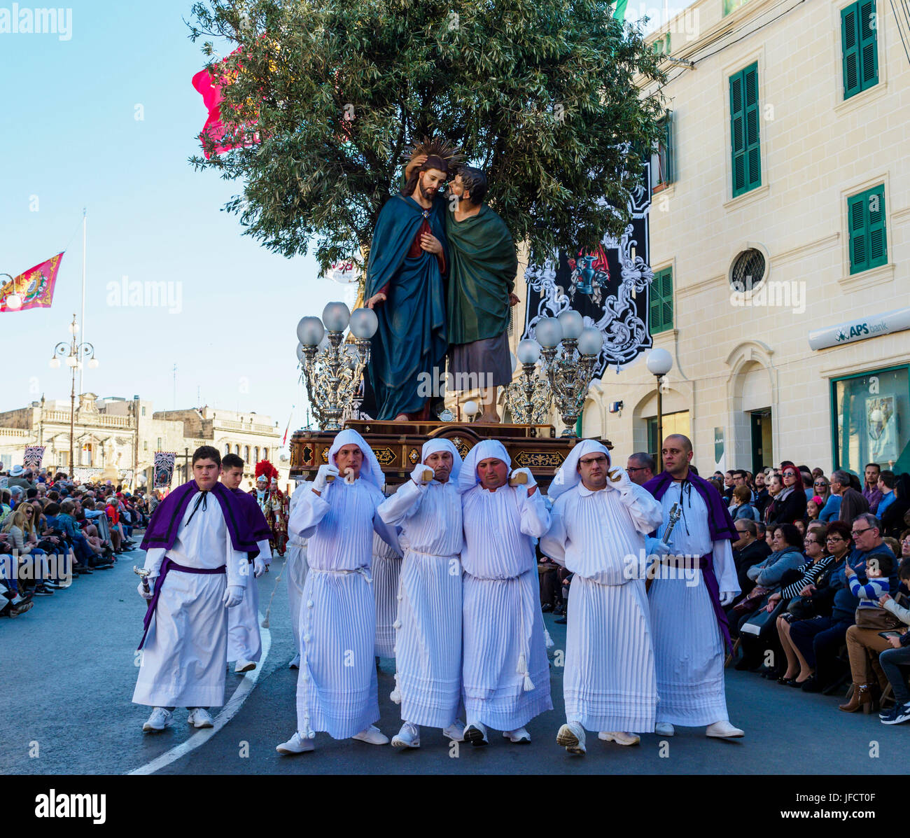 Inhabitants of the town of Zejtun / Malta had their traditional Good Friday procession / religious church parade - Stock Image